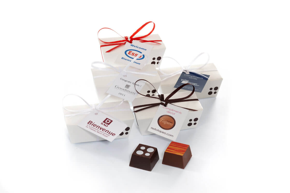 small boxes of chocolates with custom tags